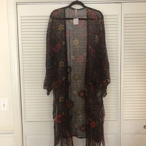Free People NWT brown floral kimono jacket size ca